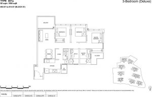 the florence residences floor plan type 3d1a