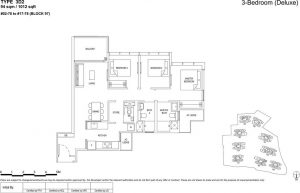 the florence residences floor plan type 3d2