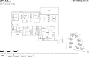 the Florence residences floor plan type 4c2a