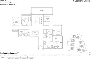 the Florence residences floor plan type 4c3